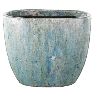 12-inch x 6-inch x 12-inch Blue Clay Large Planter