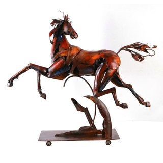 Benzara Urban Port Red/Black/Beige Metal 'Flying Horse' Sculpture