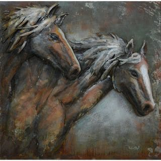 Urban Port Horse Pair Metal Wall Decor