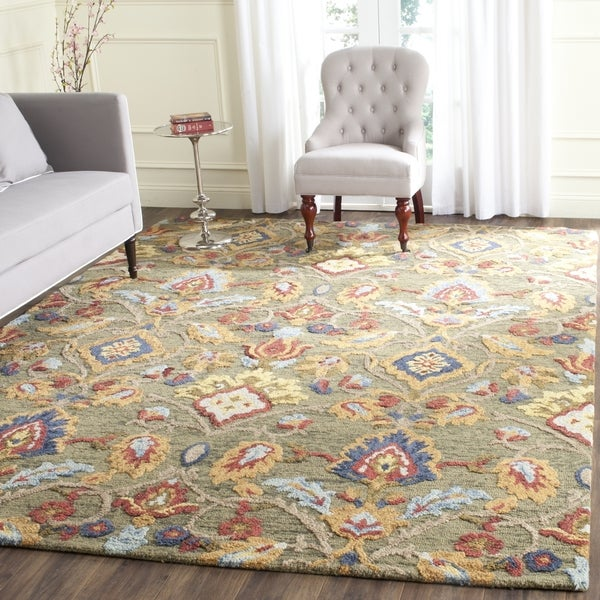 Safavieh Handmade Blossom Green / Multicolored Wool Rug - 6' Square