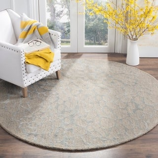 Safavieh Handmade Blossom Abstract Grey / Grey Wool Rug (6' Round)