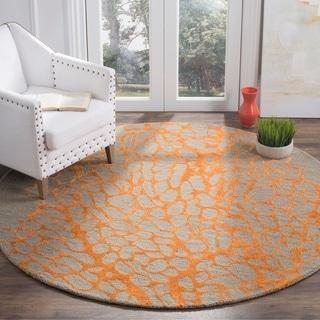 Safavieh Handmade Blossom Abstract Grey / Orange Wool Rug (6' Round)
