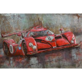 Urban Port 'Red Number 8 Sport Car' Abstract Iron Wall Decor