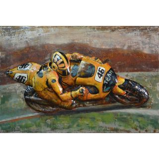 Urban Port 'Team 46 Yellow Sports Bike' Iron Wall Decor