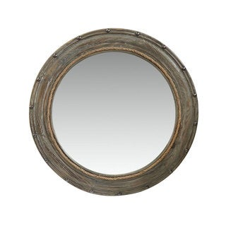 Benzara Urban Port Round Mirror with Grey Wooden Frame