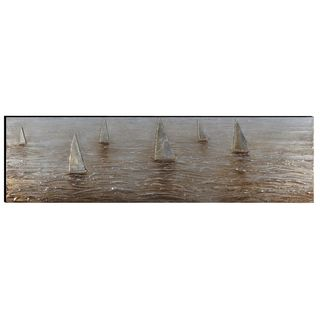 Benzara Urban Port 'Sailing Boats' Hand-painted Aluminum and Wood Wall Art Decor