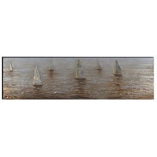 Benzara Urban Port 'Sailing Boats' Hand-painted Aluminum and Wood Wall Art Decor