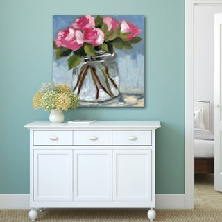 Azra Iqbal 'Pink Roses In Jar Soft' Stretched, Wrapped, and Ready-to-hang Portfolio Print Canvas Wall Art Decor