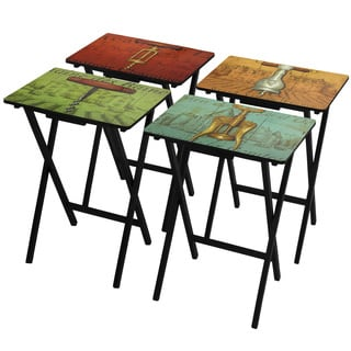 Handmade Vineyards of France TV Tray Set with Stand (China)