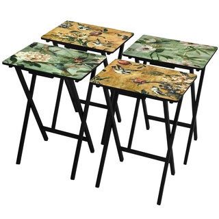 Birds and Flowers TV Tray Set with Stand (China)