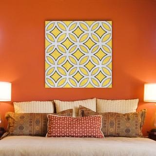 IHD Studio 'Yellow Diamonds in Circles' Canvas Print Wall Art