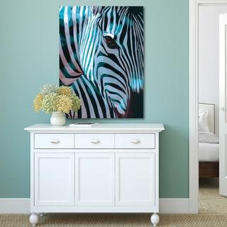 P. Charles 'Zebra Stripes Teal' Canvas Print Wall Art