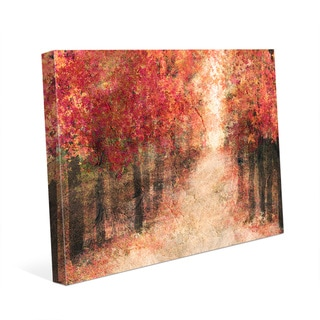 'Red Fall Forest' Wall Art on Stretched Canvas