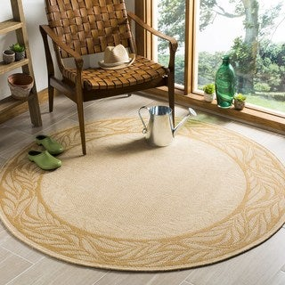 Safavieh Tranquil Natural/ Terracotta Indoor/ Outdoor Rug (5' 3 Round)