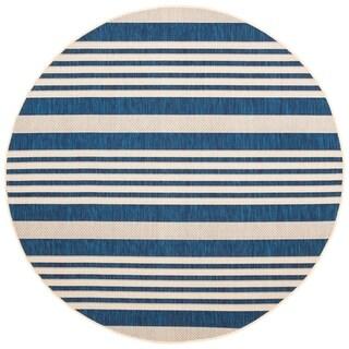 Safavieh Courtyard Stripe Navy/ Beige Indoor/ Outdoor Rug (5' Round)