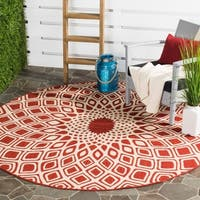 Safavieh Courtyard Optic Red/ Beige Indoor/ Outdoor Rug - 6' 7 Round
