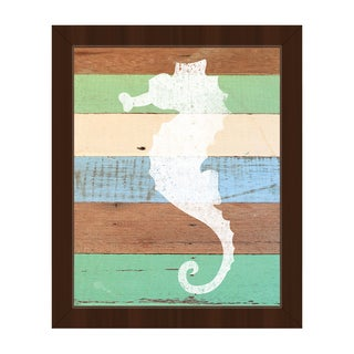 'White Seahorse' Espresso-frame Canvas Wall Art