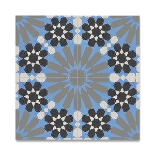 Agdal Grey and Blue Handmade Cement and Granite 8 x 8-inch Moroccan Floor and Wall Tile (Pack of 12)