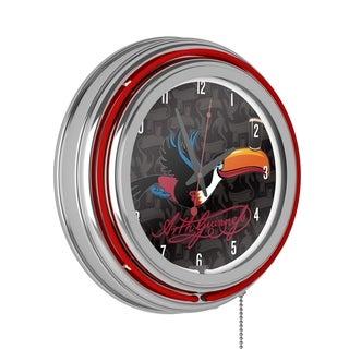Guinness Chrome Double Rung Neon Clock
