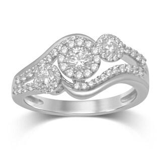 Unending Love 14k White Gold 3/4ct TDW 3 Stone Diamond Ring (H-I, I2)