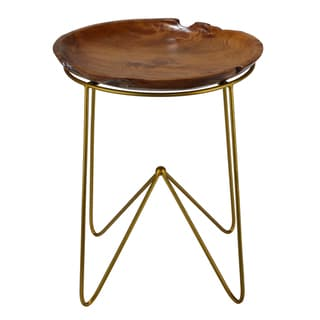 Link to Bare Decor Paolo End Table with Teak Wood Top with Gold Finish Metal Legs Similar Items in Living Room Furniture