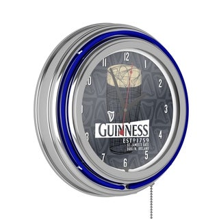 Guinness Chrome Double Rung Neon Clock