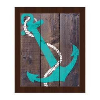'Anchor Teal' Canvas and Espresso Framed Wall Art