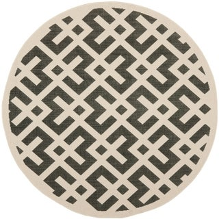 Safavieh Courtyard Contemporary Black/ Beige Indoor/ Outdoor Rug (4' Round)