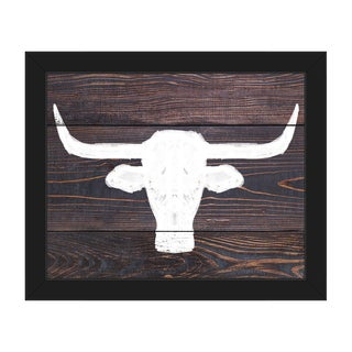 'Longhorns on Wood' Black Plastic Framed Canvas Wall Art