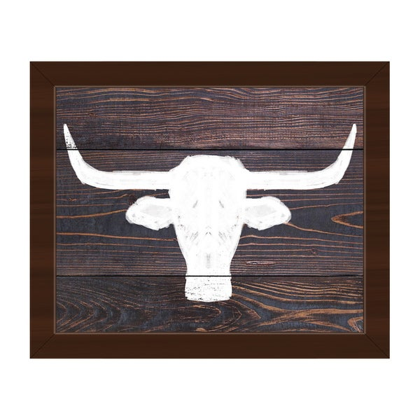 Longhorns on Wood Framed Canvas Wall Art