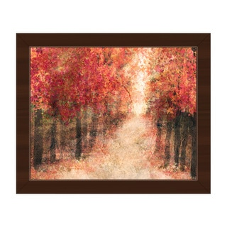 'Red Fall Forest' Framed Canvas Wall Art