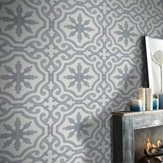 Tanger in Grey and White Handmade 8x8 Moroccan Tile (Pack of 12)