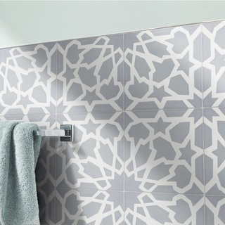 Bahja Grey and White Handmade Cement 8 x 8-inch Moroccan Floor and Wall Tile (Pack of 12)