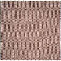 Safavieh Indoor / Outdoor Courtyard Rust / Light Grey Rug - 7' Square
