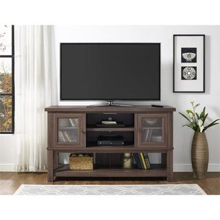 Ameriwood Home Everett 70-inch Medium Oak TV Stand with Glass Doors