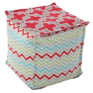 BeanSack Big Joe Mismatch Colorwork Polystyrene/Polyester Twill Cube Pouf Ottoman