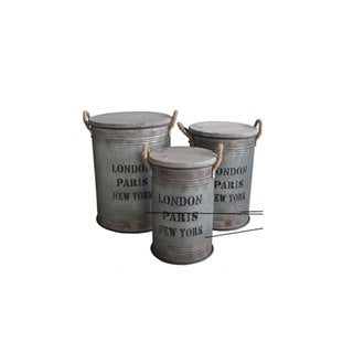 Benzara Urban Port Grey Metal/Wood Antique-style Storage Containers (Set of 3)
