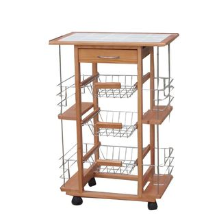 Urban Port Brown Wood/Ceramic Contemporary Kitchen Cart Trolley