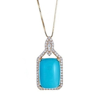 Anika and August 14K Yellow Gold Turquoise and Diamond Pendant