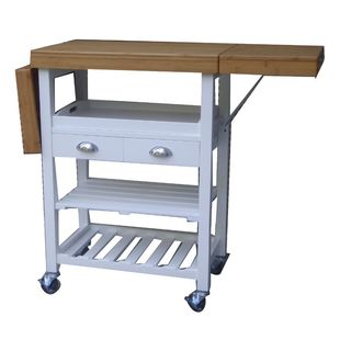 Urban Port White/Brown MDF Beautiful Kitchen Cart Trolley