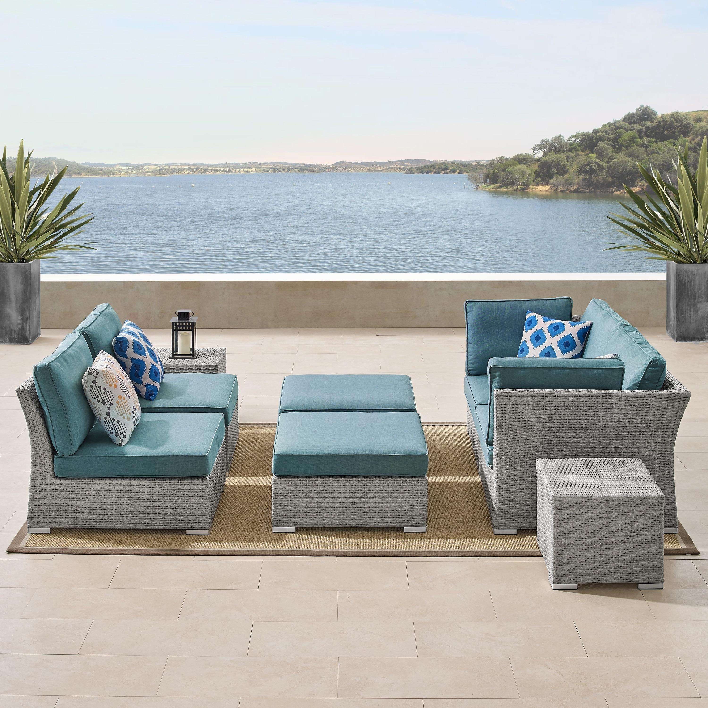 Fine Corvus 8 Piece Grey Wicker Patio Furniture Set With Blue Inzonedesignstudio Interior Chair Design Inzonedesignstudiocom