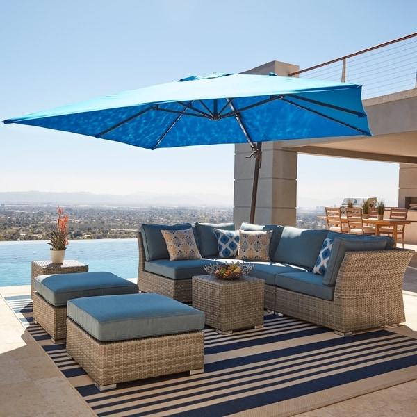 Corvus 8-piece Grey Wicker Patio Furniture Set with Blue Cushions