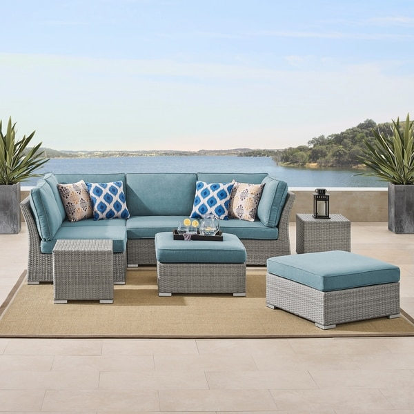 Shop Corvus 8-piece Grey Wicker Patio Furniture Set with ...