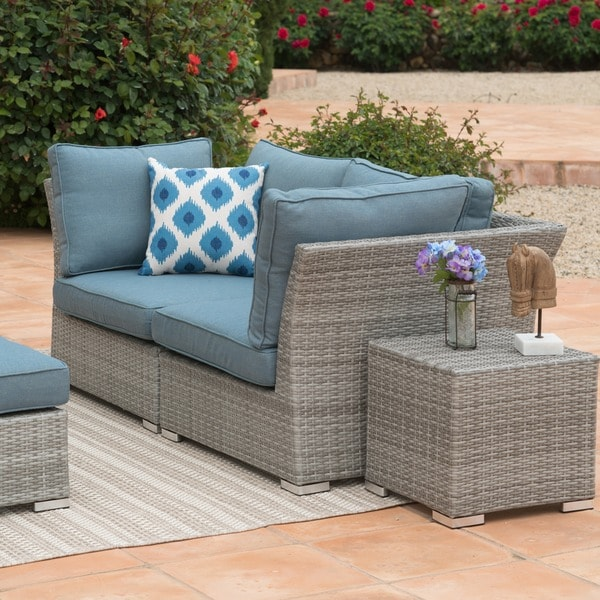 Corvus Outdoor 8 Piece Grey Wicker Sectional Sofa Set With Blue Cushions    Free Shipping Today   Overstock.com   19442343