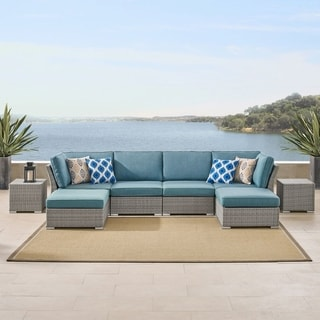 Corvus Outdoor 8 Piece Grey Wicker Sectional Sofa Set With Blue Cushions