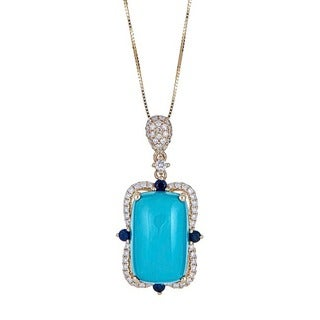 Anika and August 14K Yellow Gold Blue Sapphire, Turquoise and Diamond Pendant