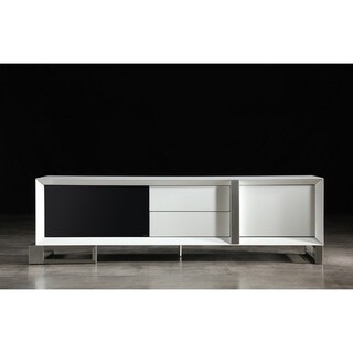 B-Modern Entertainer White Glossy Finish TV Stand With Black IR Glass