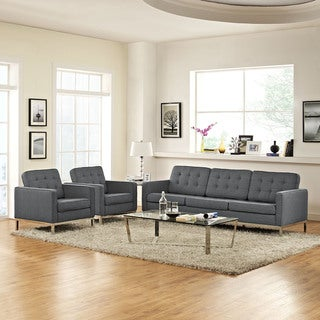 Loft Tufted Fabric Upholstered 3-piece Living Room Set