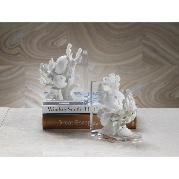 """Zarya"" Coral Resin Bookend (Set of 2)"