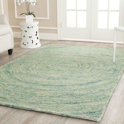 Safavieh Handmade Ikat Ivory / Blue Wool Rug - 8' x 8' Round